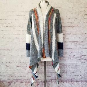 Lovestitch Wool Blend Stripe Open Blanket Cardigan
